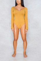 Fashion Sexy Deep V Yellow Bodysuit