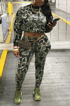 Fashion Camouflage Casual Light Green Two-Piece Set