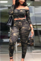 Camouflage OffShoulder Strapless Two-Piece Set