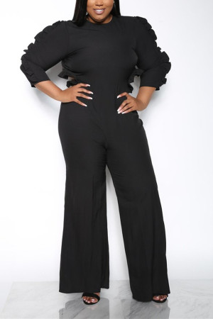 Sexy Falbala Backless Long Sleeves Black Jumpsuit