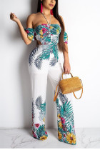 Sexy Mid Waist White Slim Print Jumpsuit