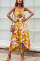 Sweet Open Fork Bowknot Bohemian Beach Yellow Dress