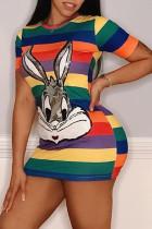 Sexy Sequins Cartoon Portraits Multi-color Dress