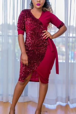 Fashion Red V Neck Sweet Sequin Dress
