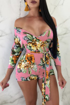 Foliage Print Pink One-piece Rompers(With Belt)