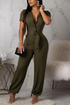 Sexy High Short Sleeve ArmyGreen Jumpsuit (With Belt)