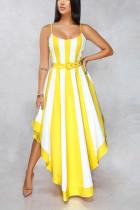 Sexy Patchwork Large Pendulum Type Yellow Dress
