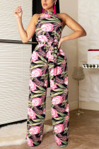Open Back Printed Bandage Pink Two-piece Set