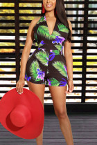 Sexy V Neck Backless Printed Green One-piece Romper