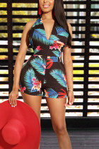 Sexy V Neck Backless Printed Blue One-piece Romper