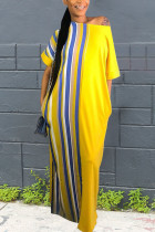 Trendy Striped Plus Size Yellow Floor Length Dress
