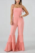 Sexy Off Shoulder Lotus Leaf Edge Pink Jumpsuit