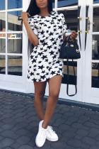 Fashion Casual Stars Printed White Dress
