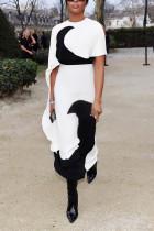 Fashion Print Contrast White Dress