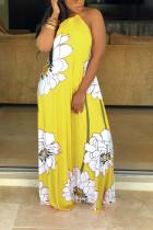 Sexy Yellow Off Shoulder Lotus Leaf Print Dress
