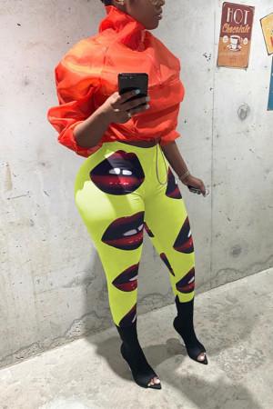 Sexy Big Lips Print Red Slim-fit Pants