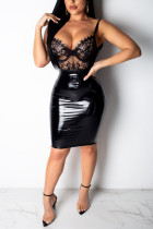 Sexy Lace Perspective Sling Open Back Zip Black Dress
