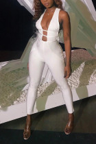 Sexy Open Chest White Bodycon Jumpsuit