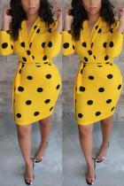 Sexy Polka-dot V-neck Yellow Dress