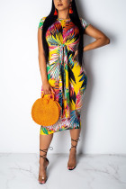 Trendy Printed Bandage Sheath Yellow Dress