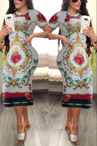 Trendy Printed Short Sleeves White Dress