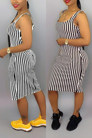 Sexy Black Striped Suspenders Dress