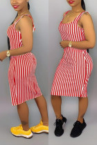 Sexy Red Striped Suspenders Dress