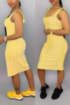 Sexy Yellow Striped Suspenders Dress