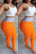 Trendy Patchwork Zipper Orange Pencil Pants