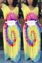 Sexy Printing  Yellow Large Swing Dress