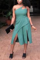 Fashion Sexy Oblique Shoulder Green Romper