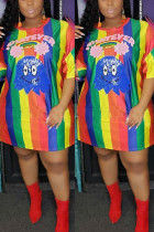 Beaded Sequin Short Sleeves Colorful Dress
