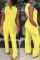Fashion Sleeveless Casual Yellow Jumpsuit