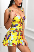 Sexy Yellow Butterfly Print A-line Dress