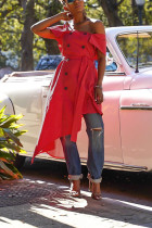 Sexy Cold Shoulder Irregular Red Dress