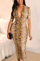 Printed Snakeskin Bodycon Yellow Dress