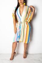 Casual Striped Print Sleeveless White Dress