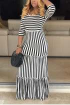 Sexy Striped Featuring Mopping White Dress