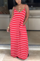 Fashion Casual Red Striped Dress