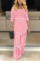 Sexy Striped Featuring Mopping Red Dress