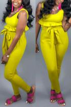 Sexy Vest Straps Slim   Yellow Two-piece Suit