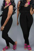 Sexy Vest Straps Slim   Black Two-piece Suit