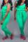 Sexy Vest Straps Slim   Green Two-piece Suit