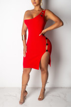 Sexy Fashion Red One Shoulder Dress