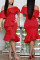 Fashion Wrapped Chest Lotus  Leaf Collar Irregular Red Dress