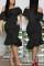 Fashion Wrapped Chest Lotus  Leaf Collar Irregular Black Dress