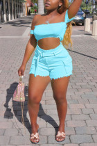 Fashion Sexy Strapless Shorts Blue Suit