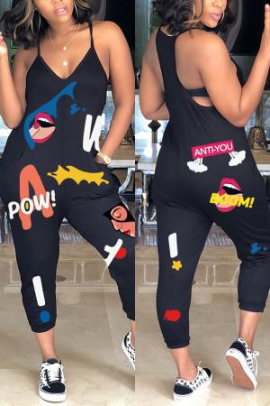 Fashion Casual Printing Sleeveless Black Jumpsuit