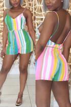 Fashion Printed Striped Green Romper