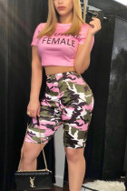 Casual Letter Print Top Camouflage Shorts Sports Pink Set